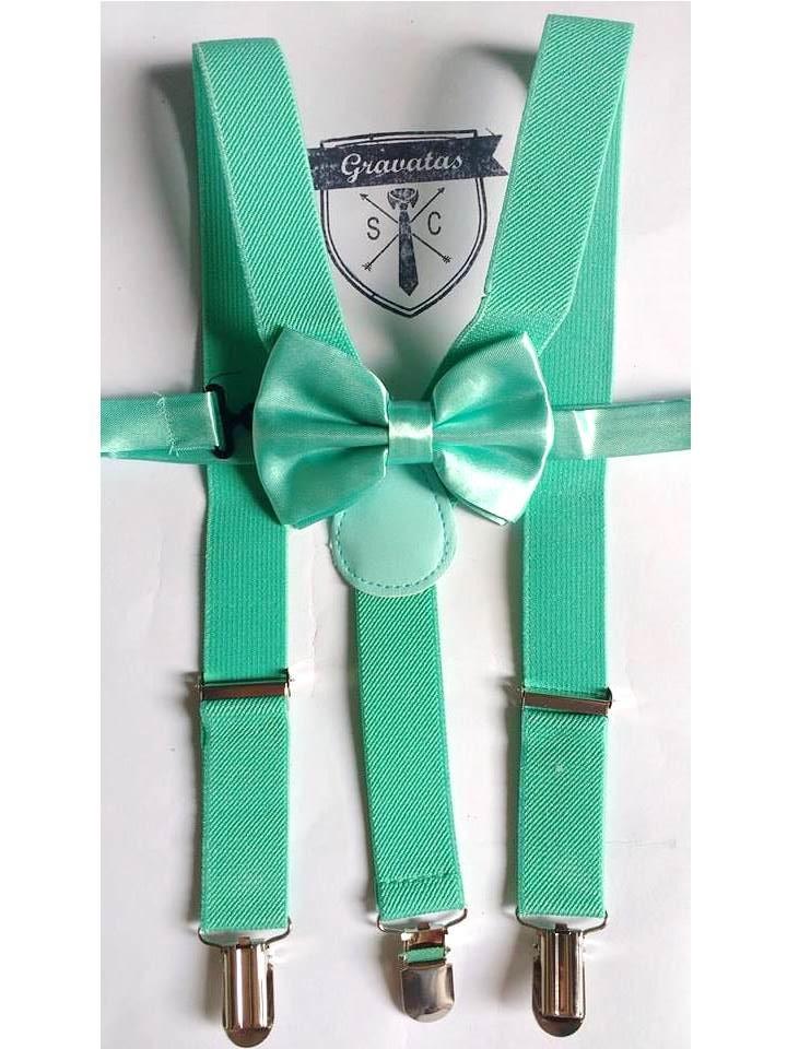 54a75565c Kit Suspensório Verde Tiffany + Gravata -Infantil  Pajem no Elo7 ...
