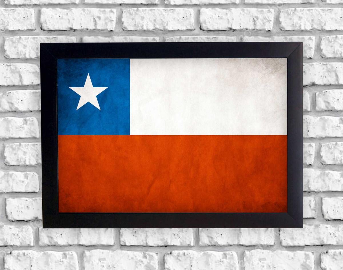 f1d2e22ac63fd Quadro Decorativo Bandeira Chile Retrô + Moldura no Elo7