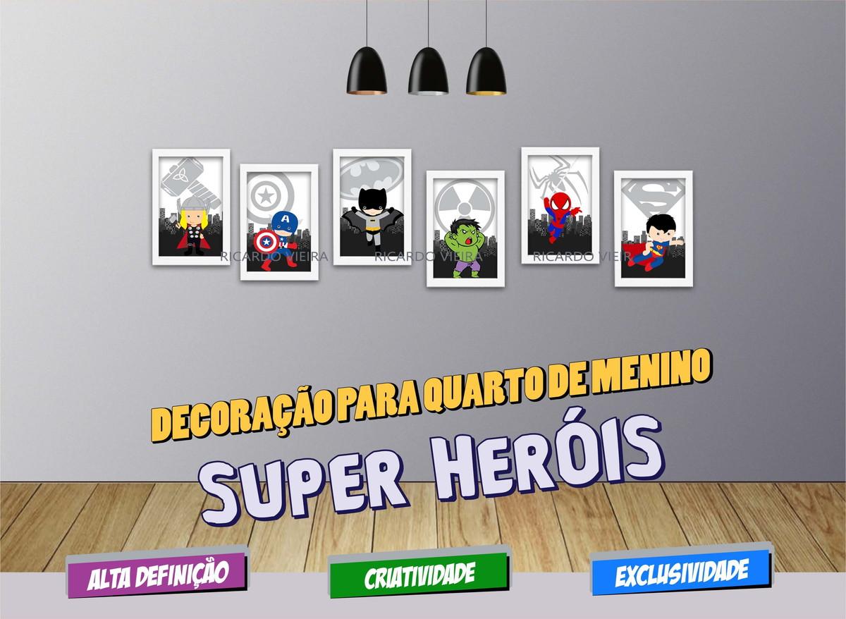 6 Quadros Super Her Is Baby Decora O Quarto Infantil Decorar  ~ Quarto Planejado Infantil Feminino