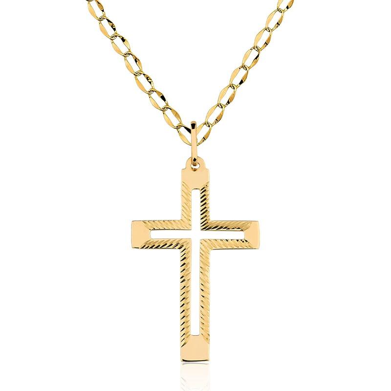 Pingente Cruz Ouro Maciço 10k + Corrente 50 Cm no Elo7   SUBLIME ... e5f6e718b1