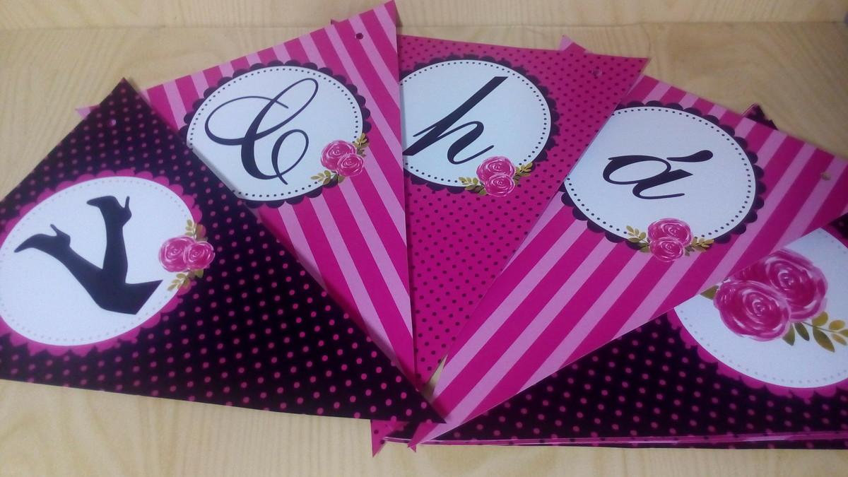 c9bd4a56e Bandeirola Chá de Lingerie Pink e Preto no Elo7