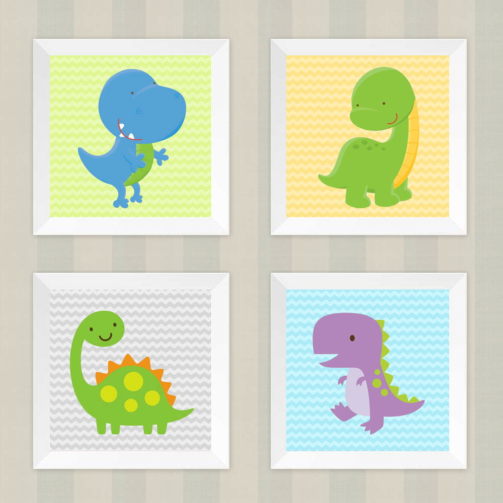 6409874aa590eb Kit Infantil Quarto Bebê Quadro Dinossauro Chevron