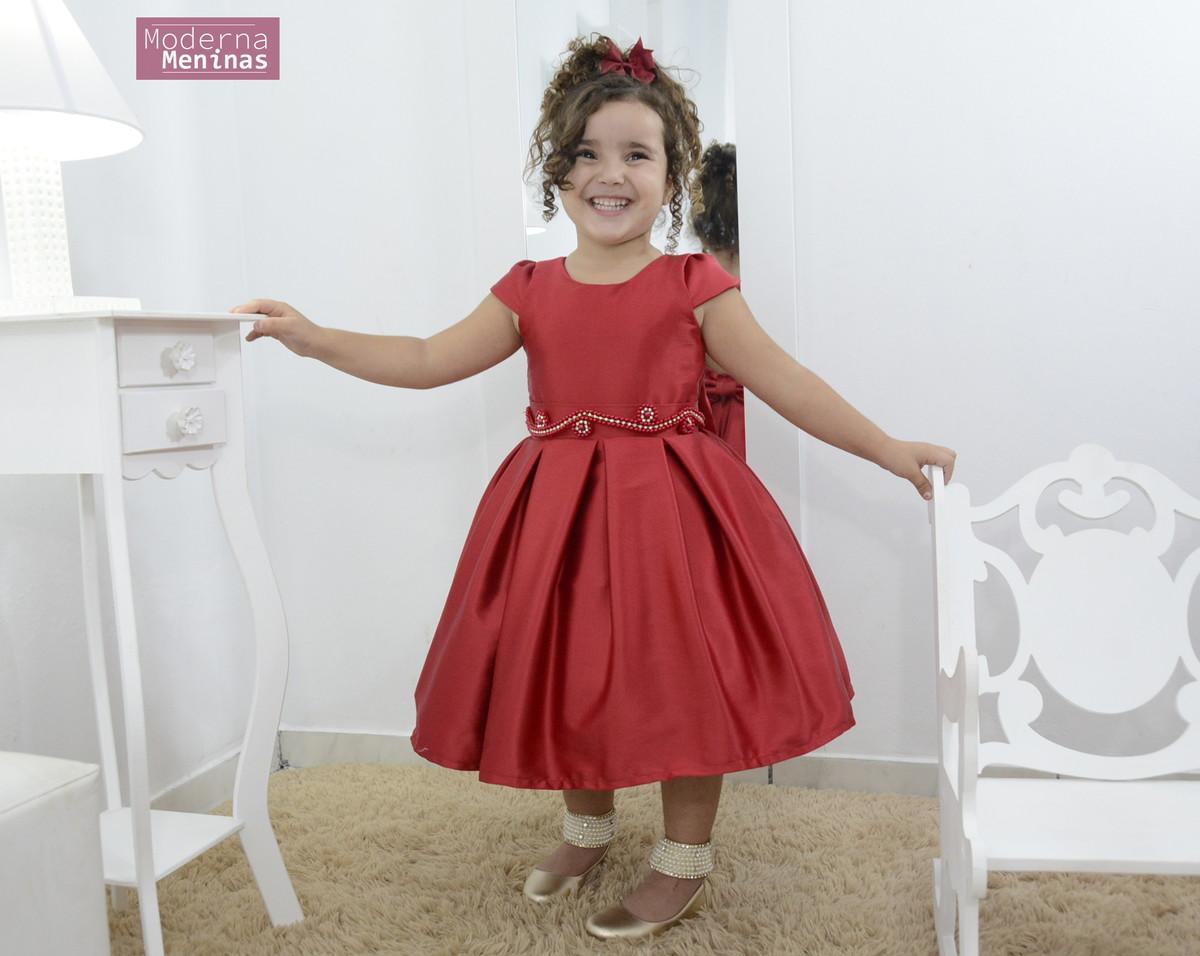 bf9102d49d Vestido infantil vermelho rubi com bordado no Elo7