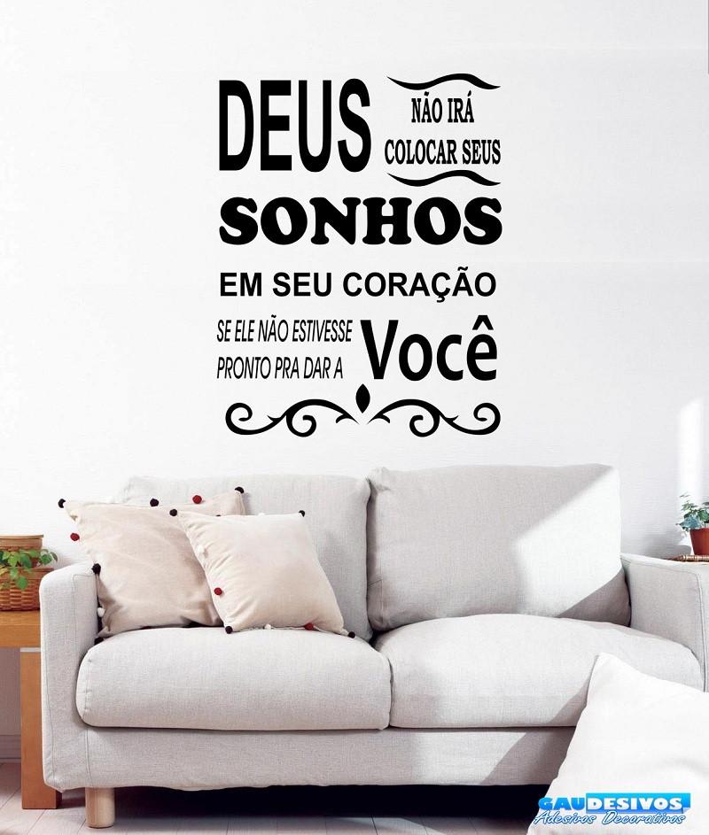 a90a49a74 Adesivo Decorativo de Parede Frase Deus Sonho no Elo7