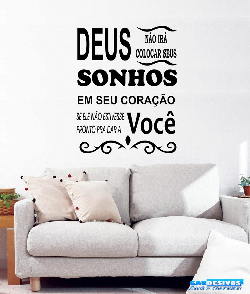 Adesivo Decorativo De Parede Frase Deus Sonho