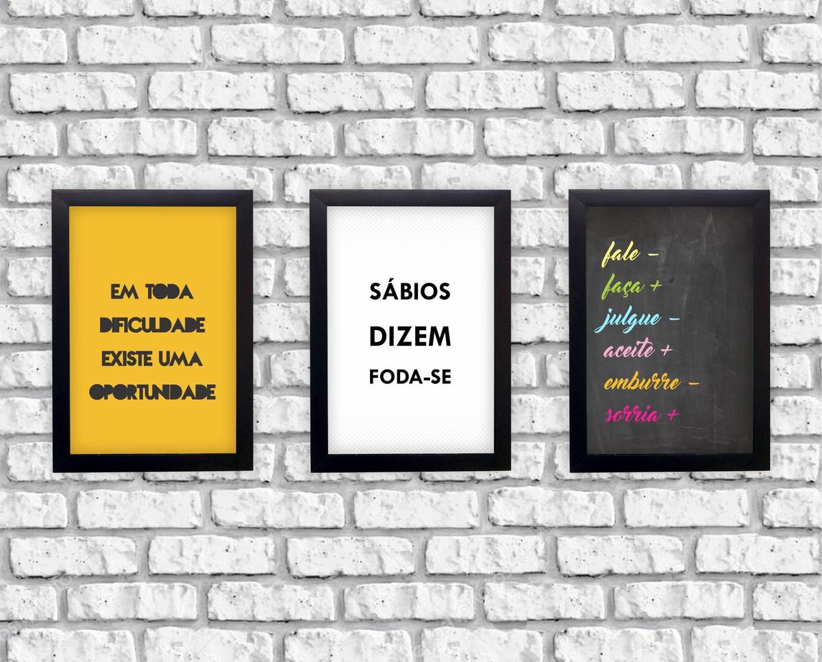 Kit 3 Quadros Frases Motivacionais Moldura Preta
