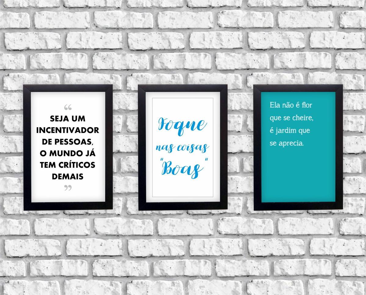 Kit 3 Quadrinhos Frases Musicais Inspiradoras Moldura Pret