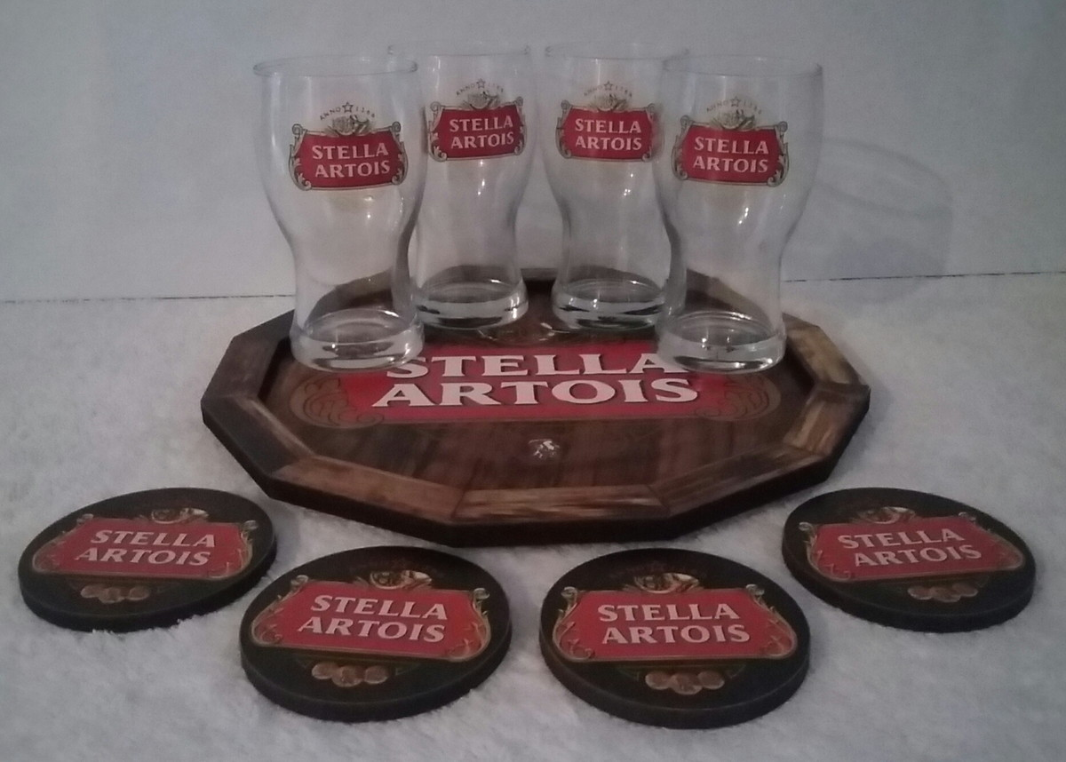 Zoom · Kit Home Bar Stella Artois Com Bandeja E 04 Copos