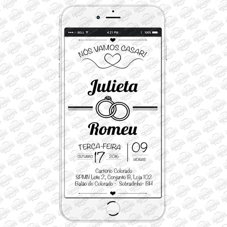 Convite Virtual Para Casamento Preto E Branco No Elo7 Whatsapp