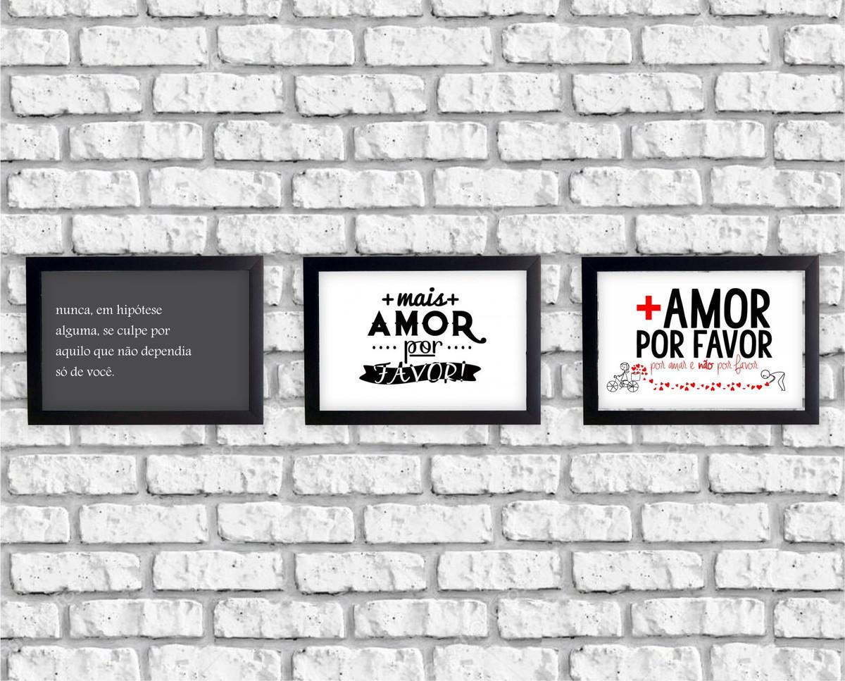 Kit 3 Quadrinhos Frases Mais Amor Por Favor Moldura Laquea No Elo7