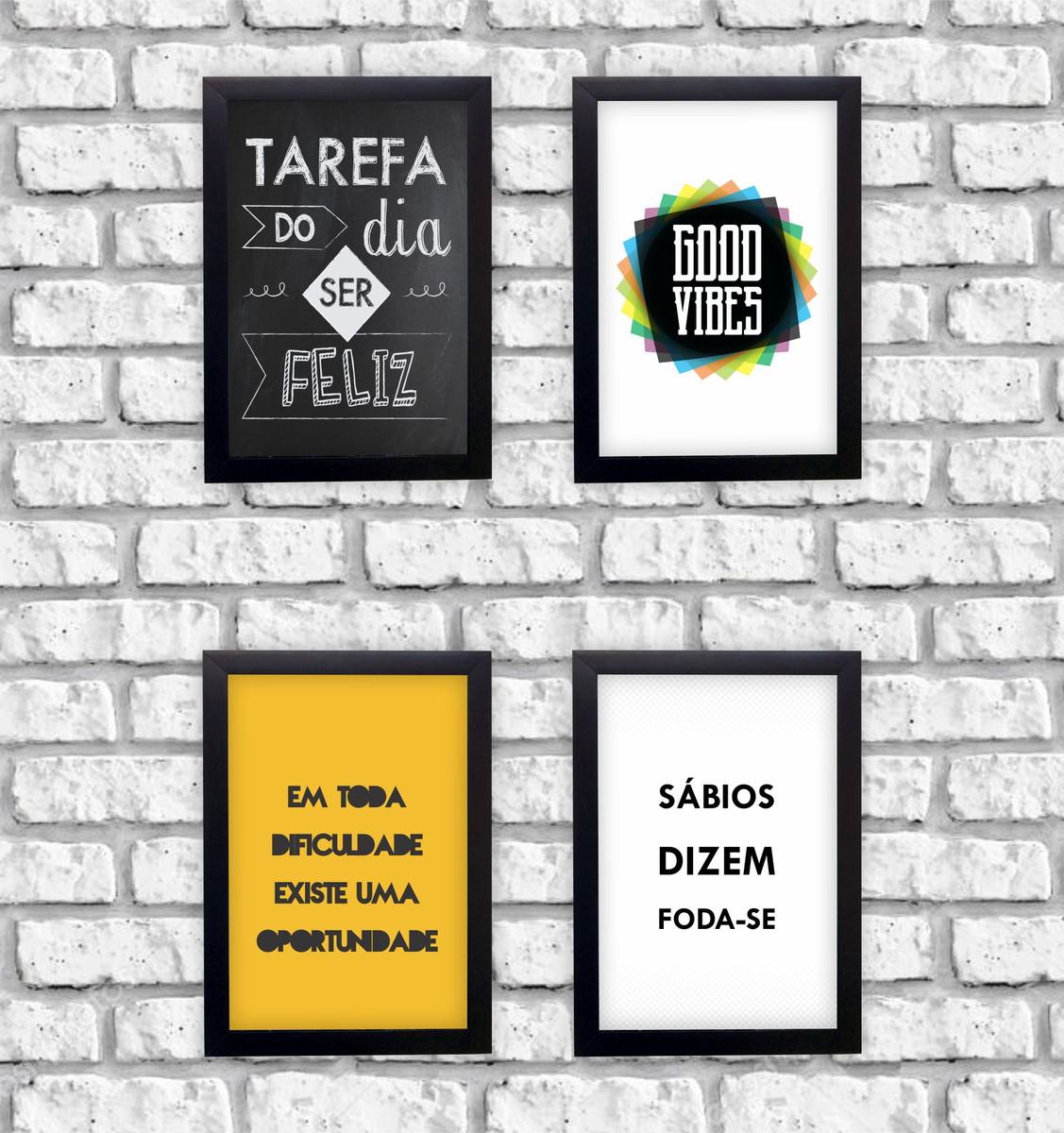 Kit 4 Quadros Decorativos Frases Motivacionais Moldura