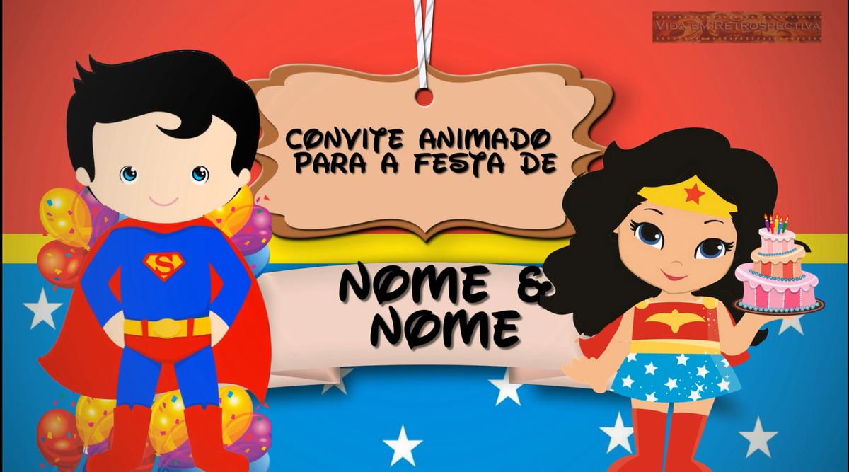 Convite Animado Super Homem E Mulher Maravilha Baby No Elo7 Vida