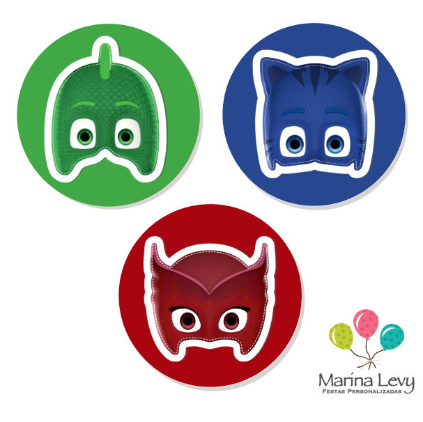 Aplique 3d 3 8cm Pj Masks No Elo7 Marina Levy Festas A9c932