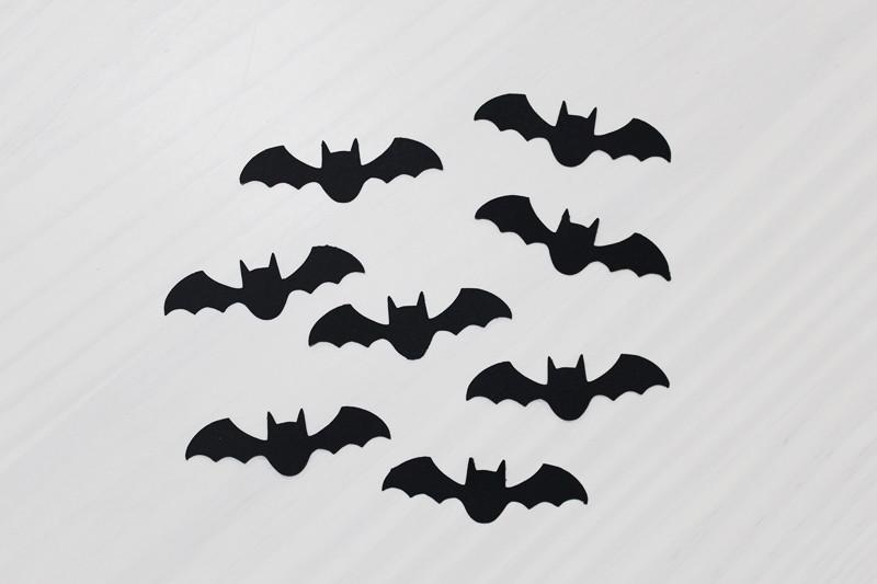Aplique kit 40 mini recortes morcego papel halloween