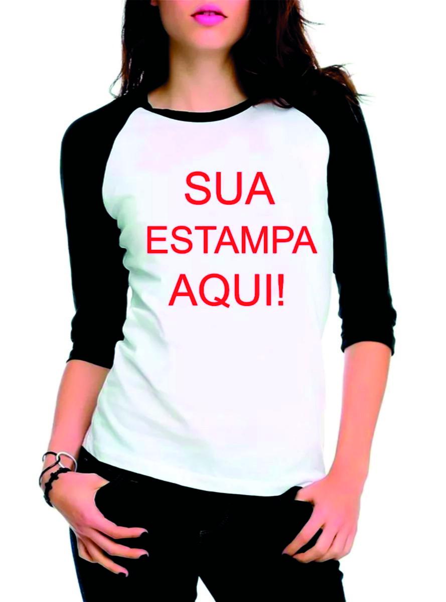 b28ee66d54d Camiseta Raglan Manga 3 4 Feminina Personalizada Sua Estampa no Elo7 ...