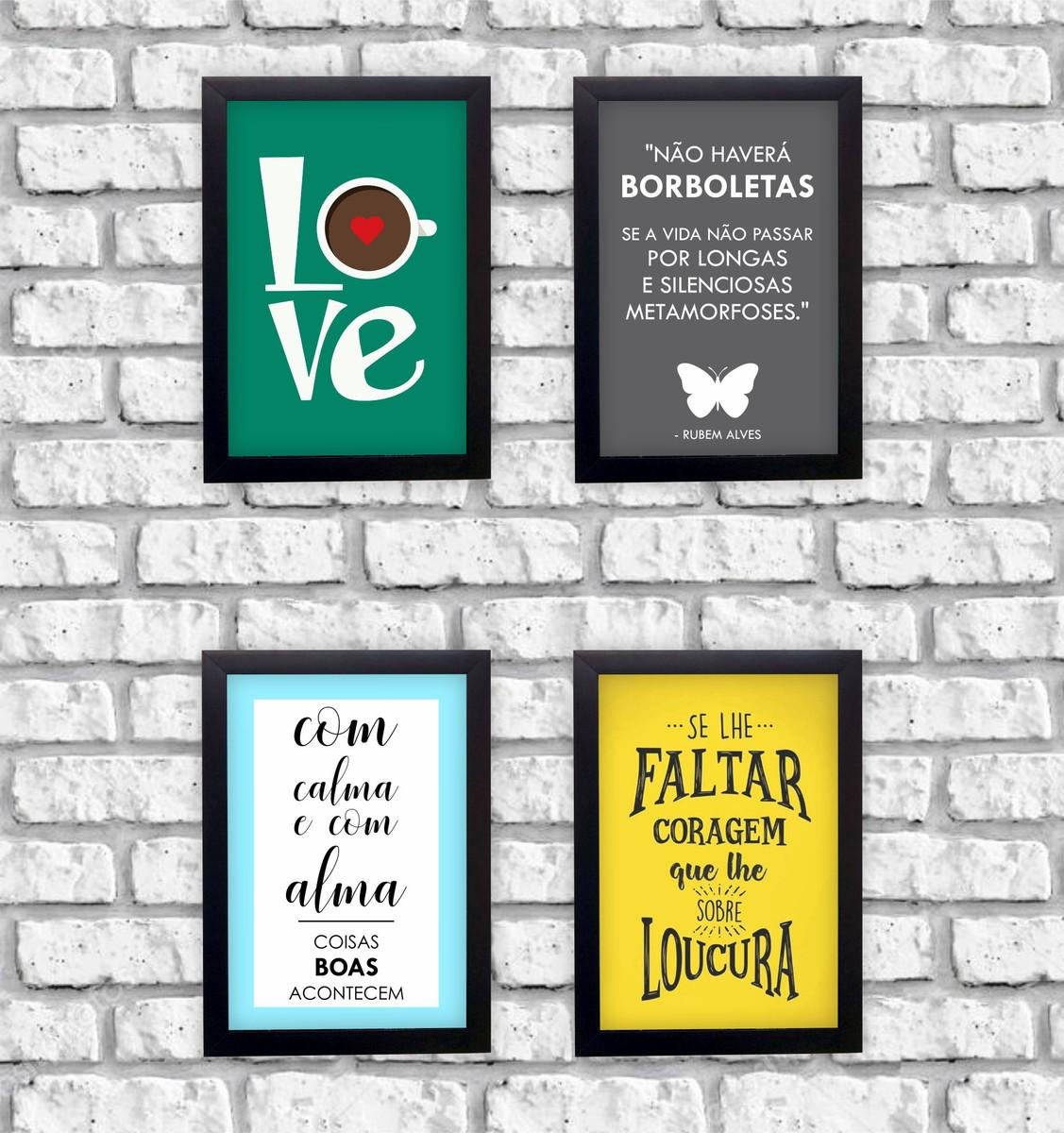 Kit 4 Quadros Decorativos Frases Love Motivação Moldura