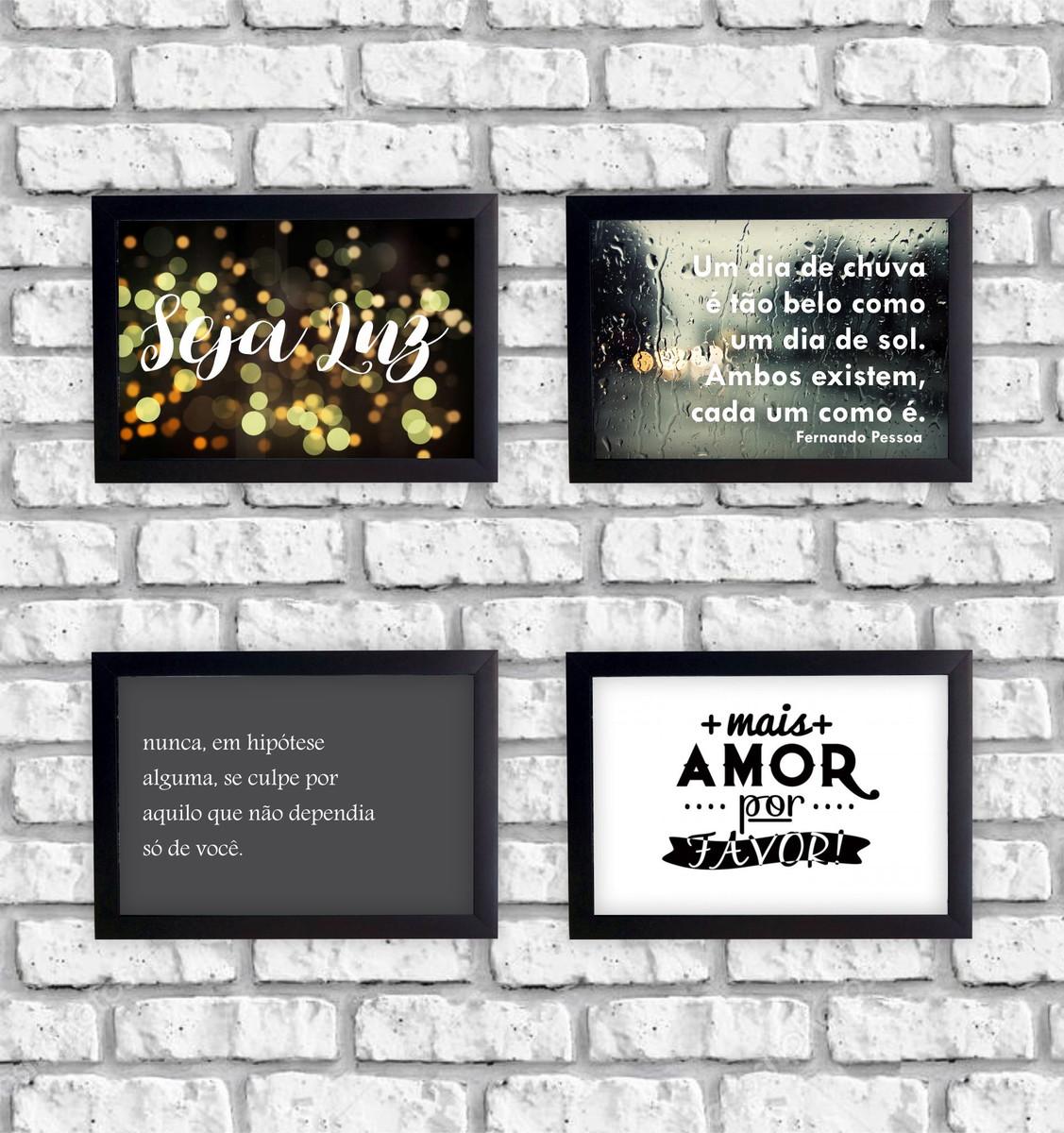 Kit 4 Quadros Decorativos Frases Seja Luz Mais Amor Moldura No Elo7