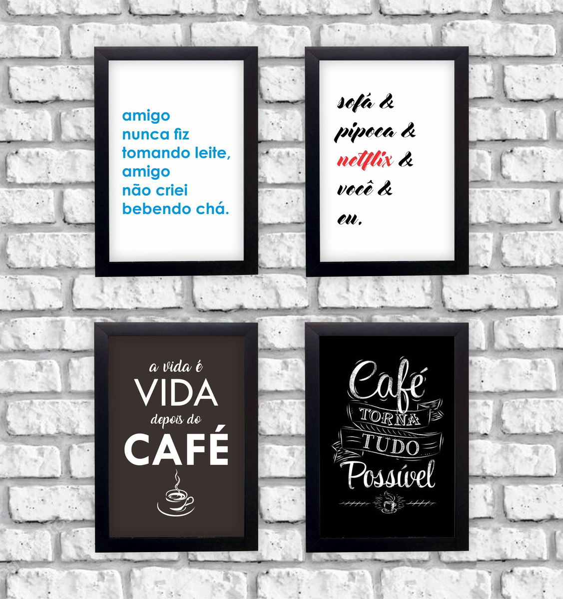Kit 4 Quadros Decorativos Frases Café Netflix Moldura Preta No Elo7