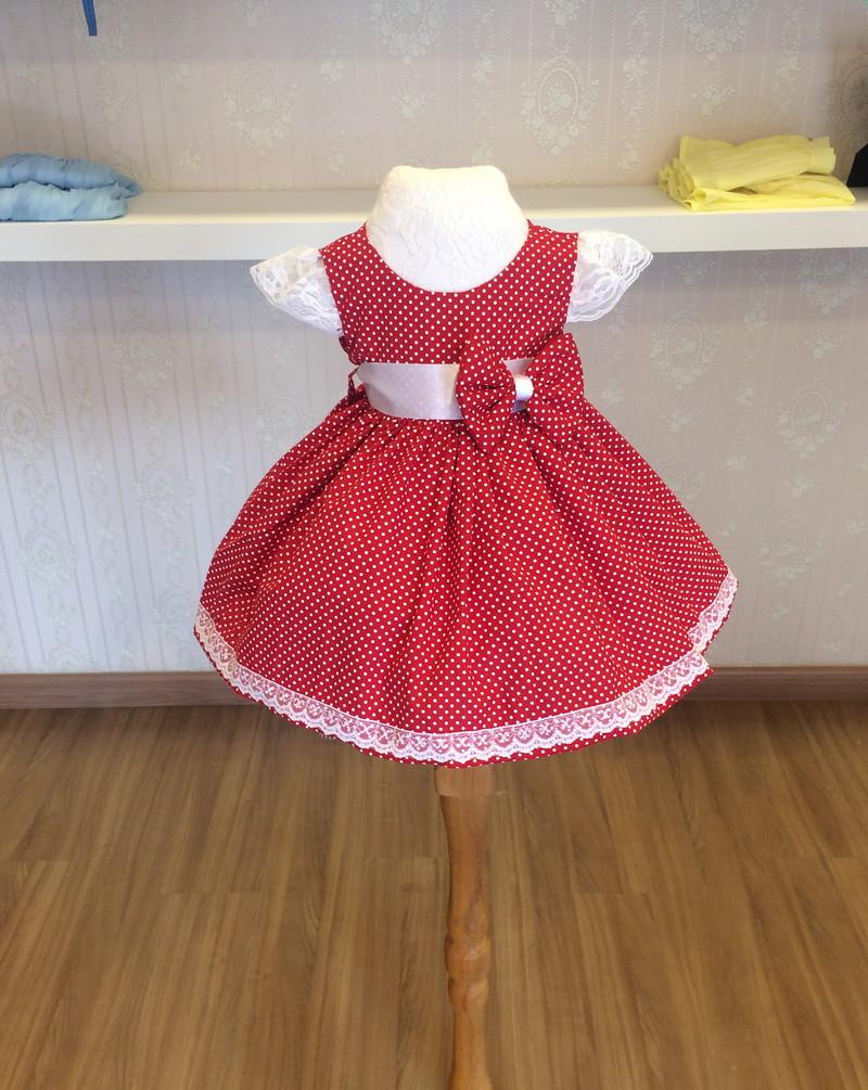 d0ce51b15 Vestido Vermelho com Bolinhas Brancas - Infantil no Elo7 | Liminha ...