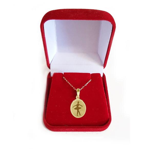 716ec2cfb7c27 Bailarina Colar Pingente ouro corrente 45cm PG33 nome verso no Elo7 ...