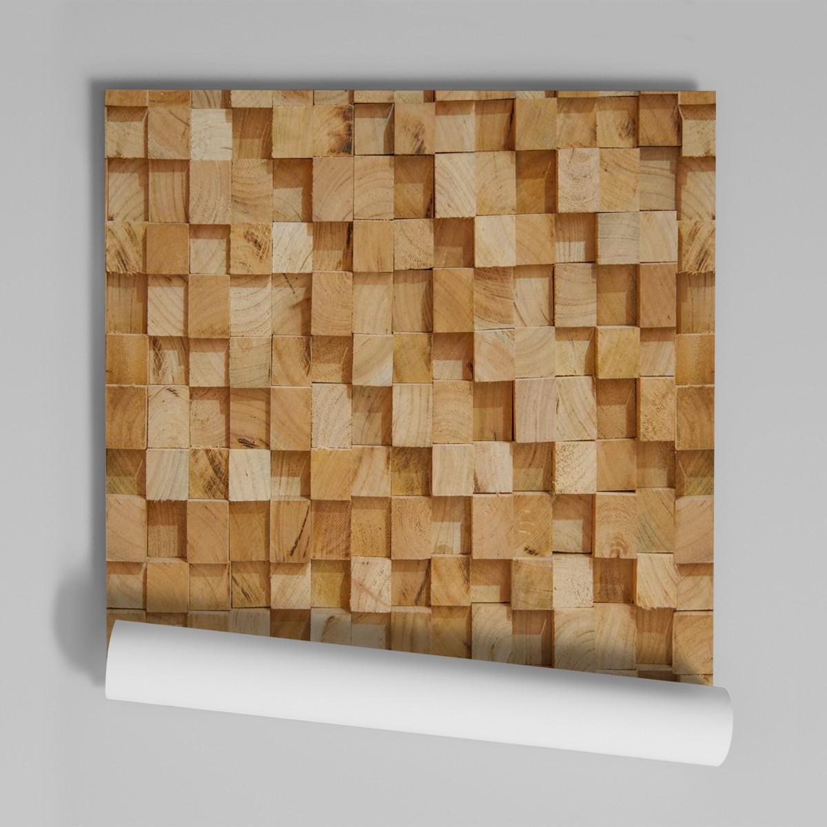 f2670d41e Zoom · Papel De Parede Adesivo Madeira 3d Cubos 1