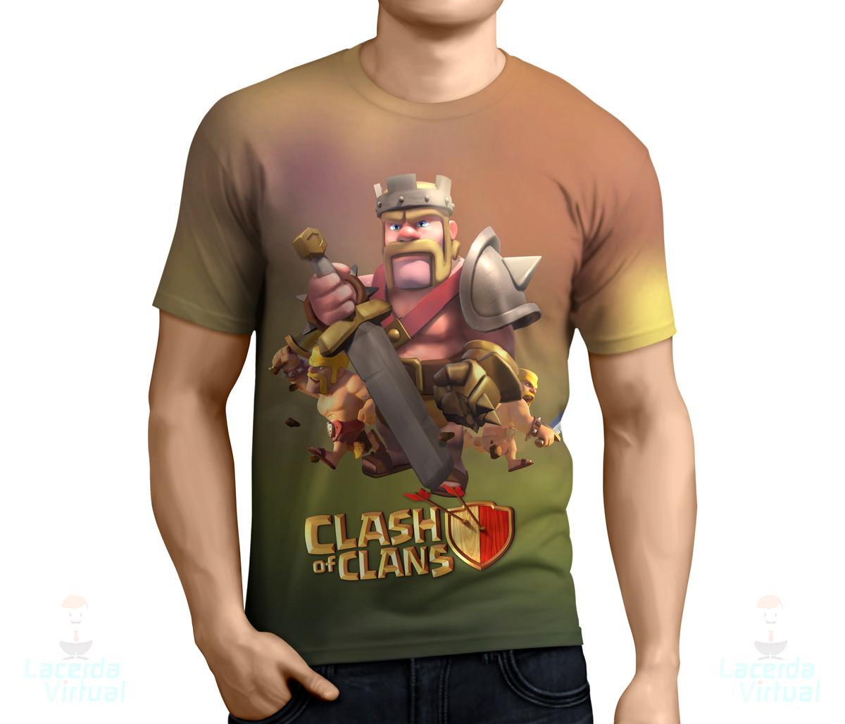 camisa camiseta clash of clans rei bárbaro estampa total no elo7