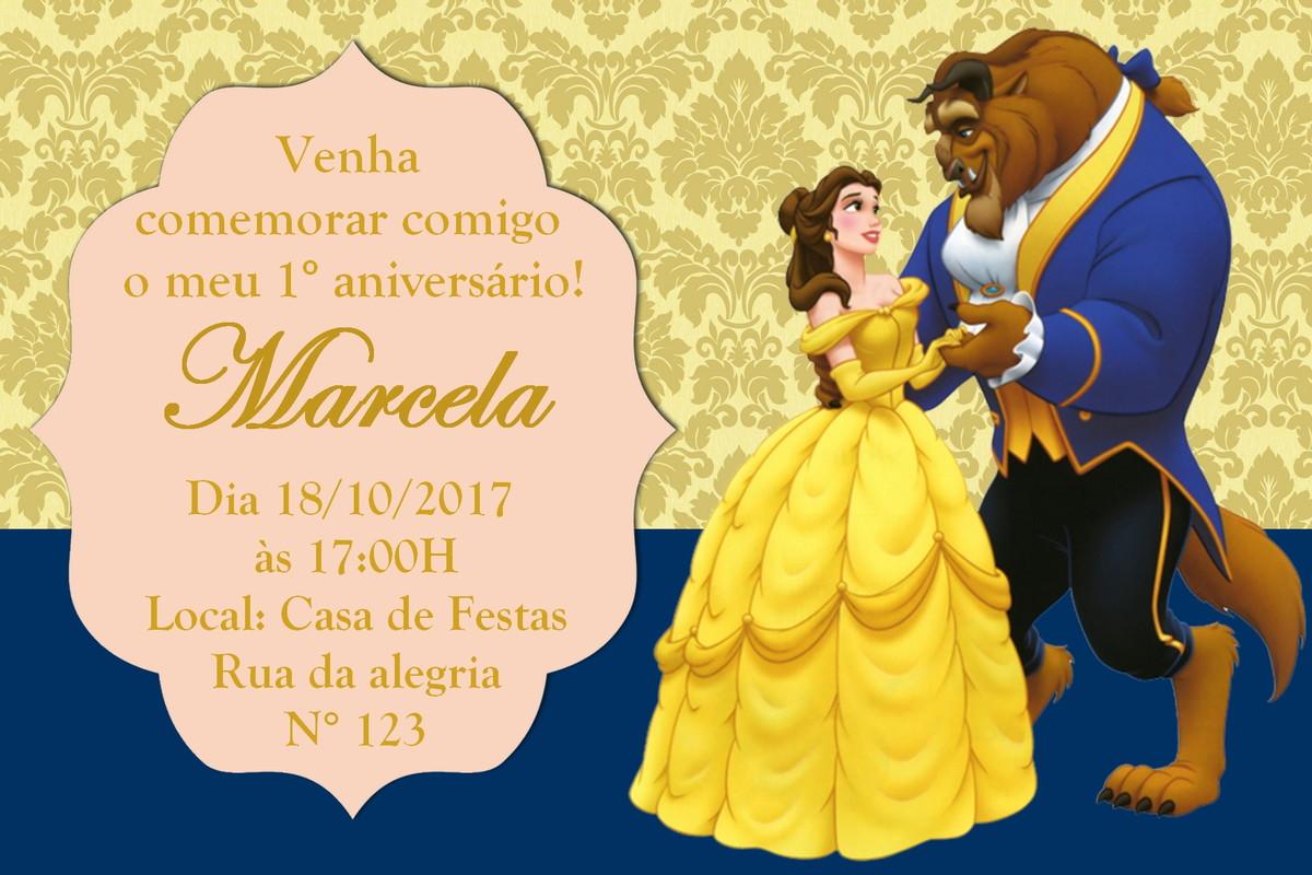 Convite A Bela E A Fera Arte Digital No Elo7 Aquarela Digital