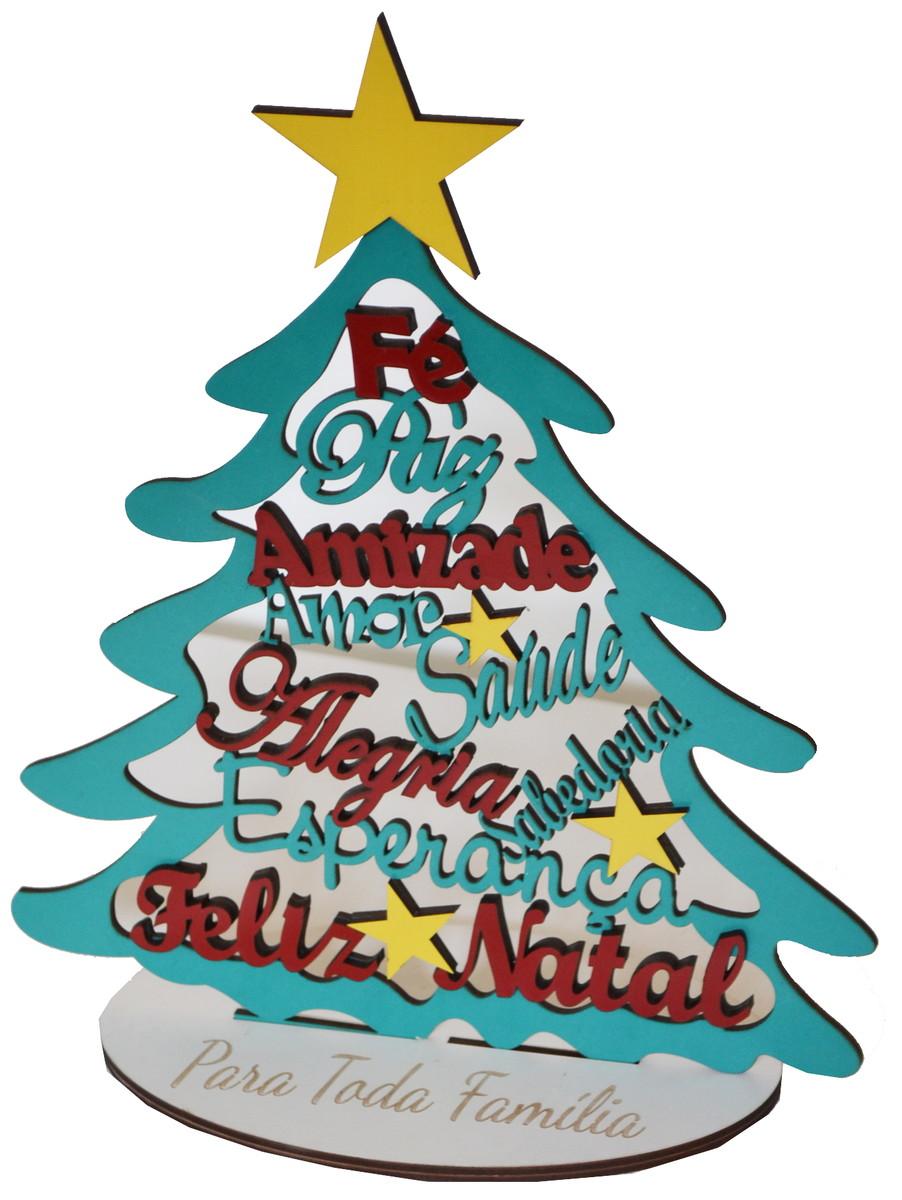 Arvore De Natal Com Frases Positivas Mdf Colorido No Elo7 Feliz