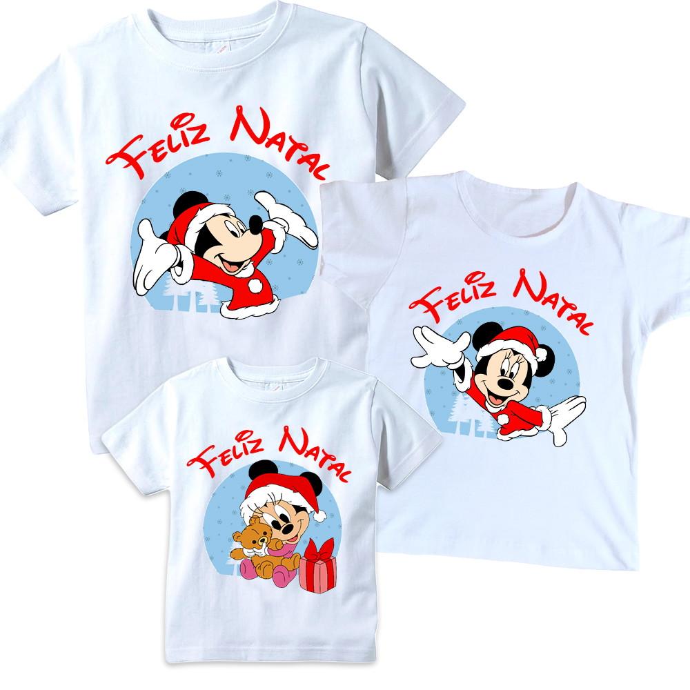 2931a19eb312c Zoom · Kit 3 camisetas Mickey Natal Tal pai Tal mãe Tal filho(a)