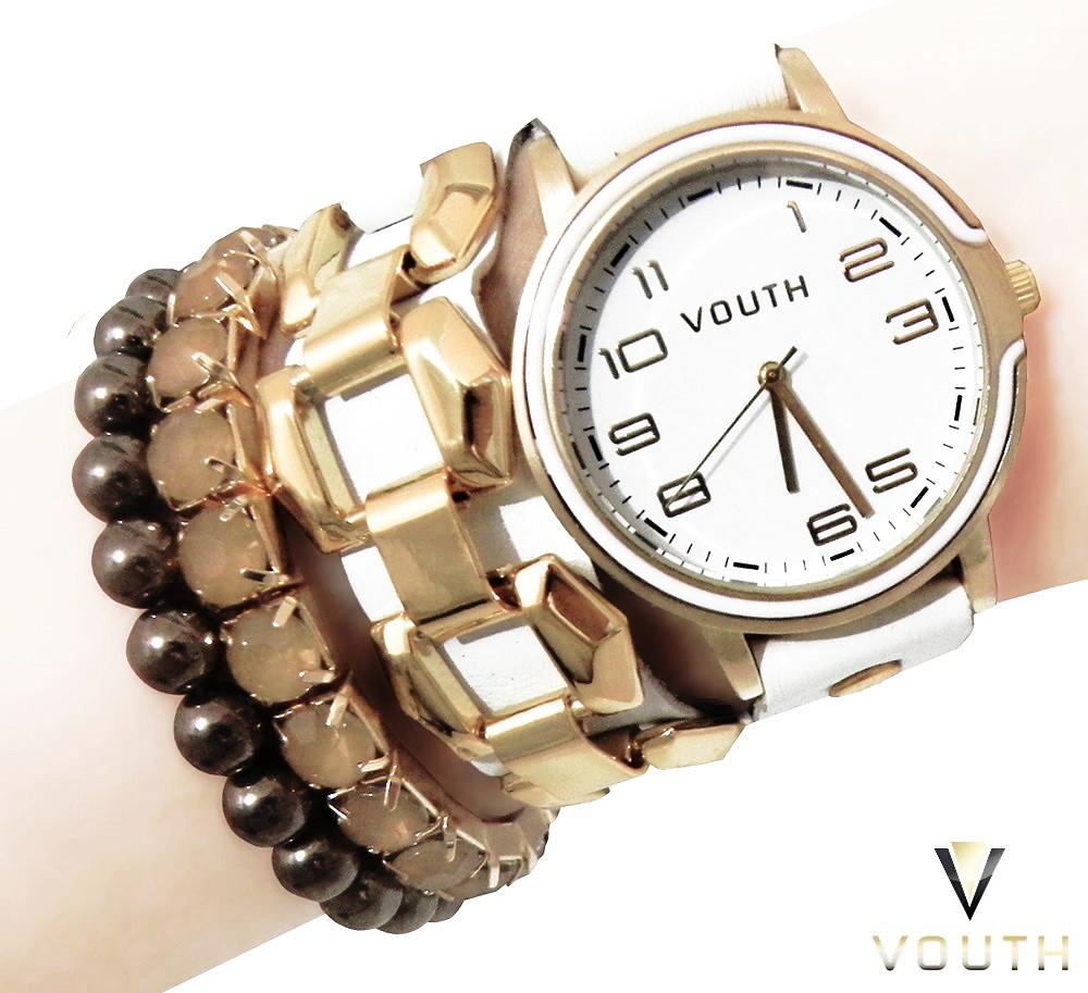 997bbe0ff63 Zoom · Relógio De Pulso Feminino Branco E Dourado Pulseirismo