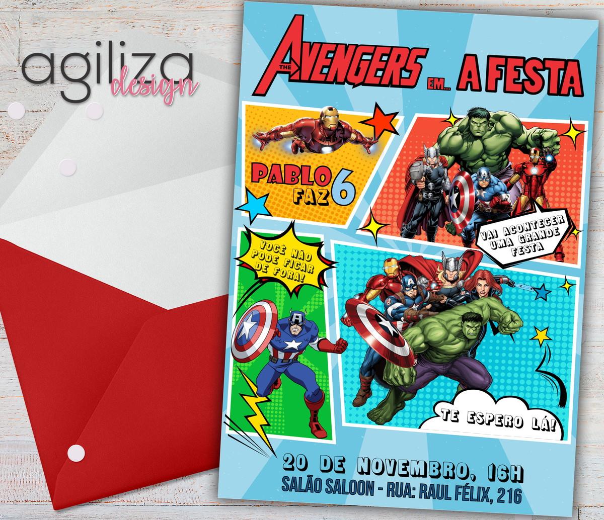 Os Vingadores Quadrinhos Convite Digital No Elo7 Agiliza