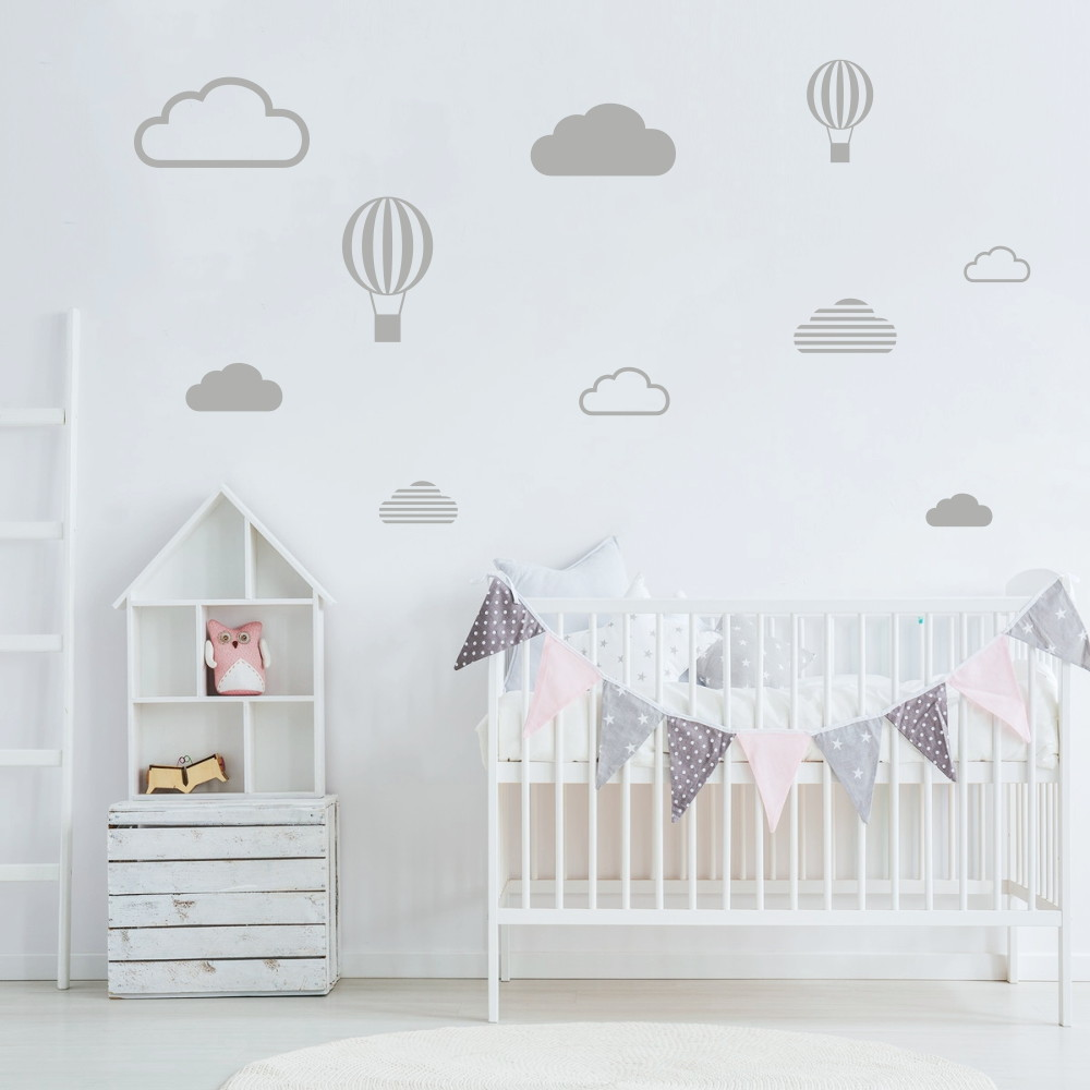 Aparador Tok Stok Preto ~ Adesivo nuvens e balões cinza claro Decorando Adesivos