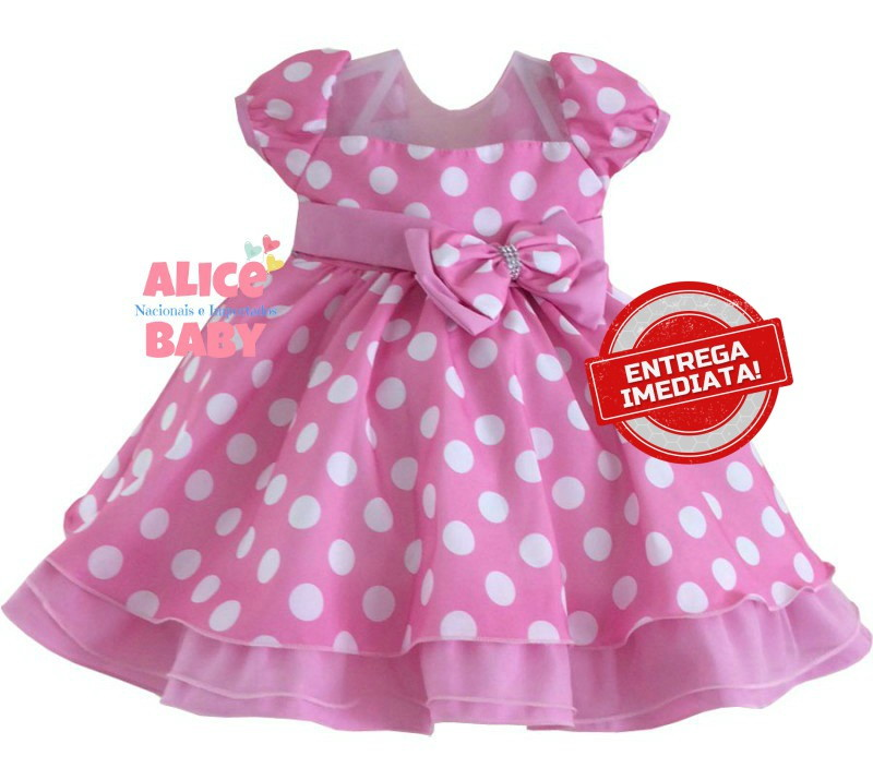 Vestido Festa Minnie Rosa 1 Ano