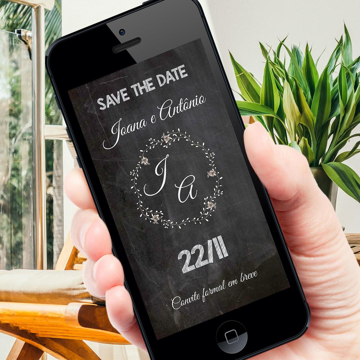 Save the Date Digital Whatsapp no Elo7   Cor de Flor (AC80D3)