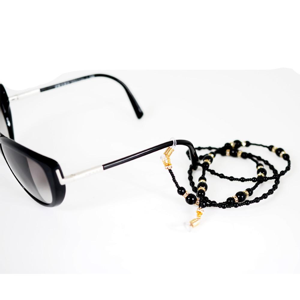 Cordinha de pedrarias para óculos Preto e Dourado no Elo7   Bead ... dd50aa4d68