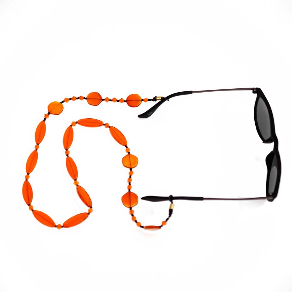 Cordinha de pedrarias para óculos Laranja no Elo7   Bead Shop (ABDD97) e2a68d7b02