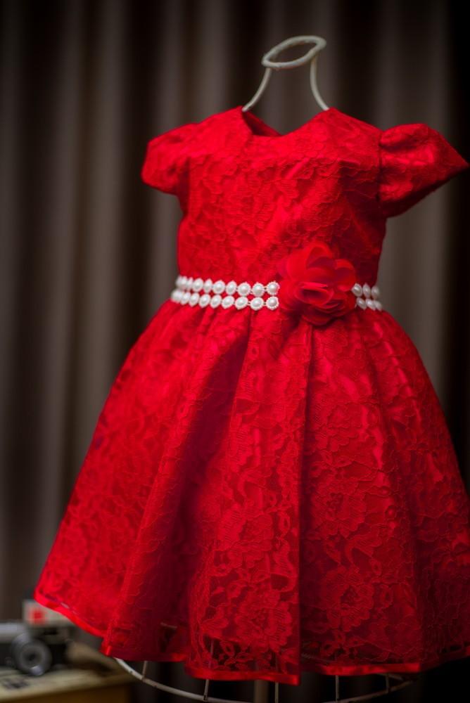 c666aabce9 Vestido Infantil de renda Vermelho no Elo7