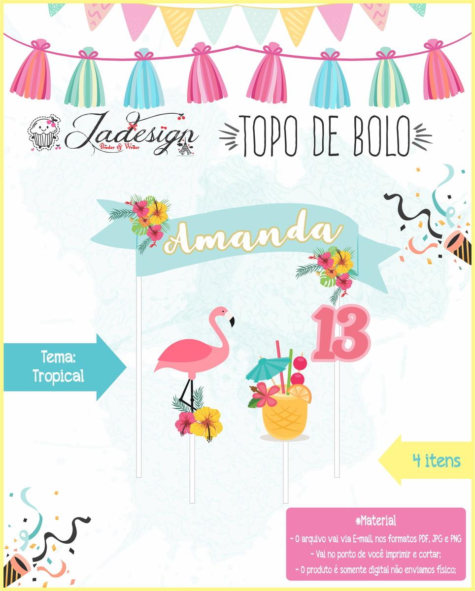 Topo De Bolo Para Impressão Tropical No Elo7 Jadesign Pw Acc5d2