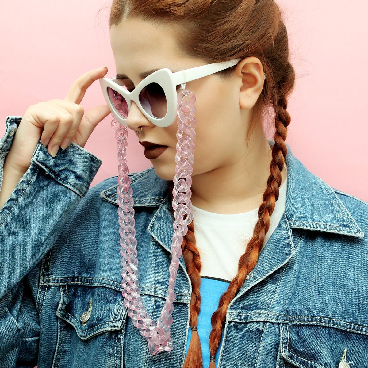 Corrente de Óculos rosa transparente (plastico) no Elo7   É tipo ... 691207916b
