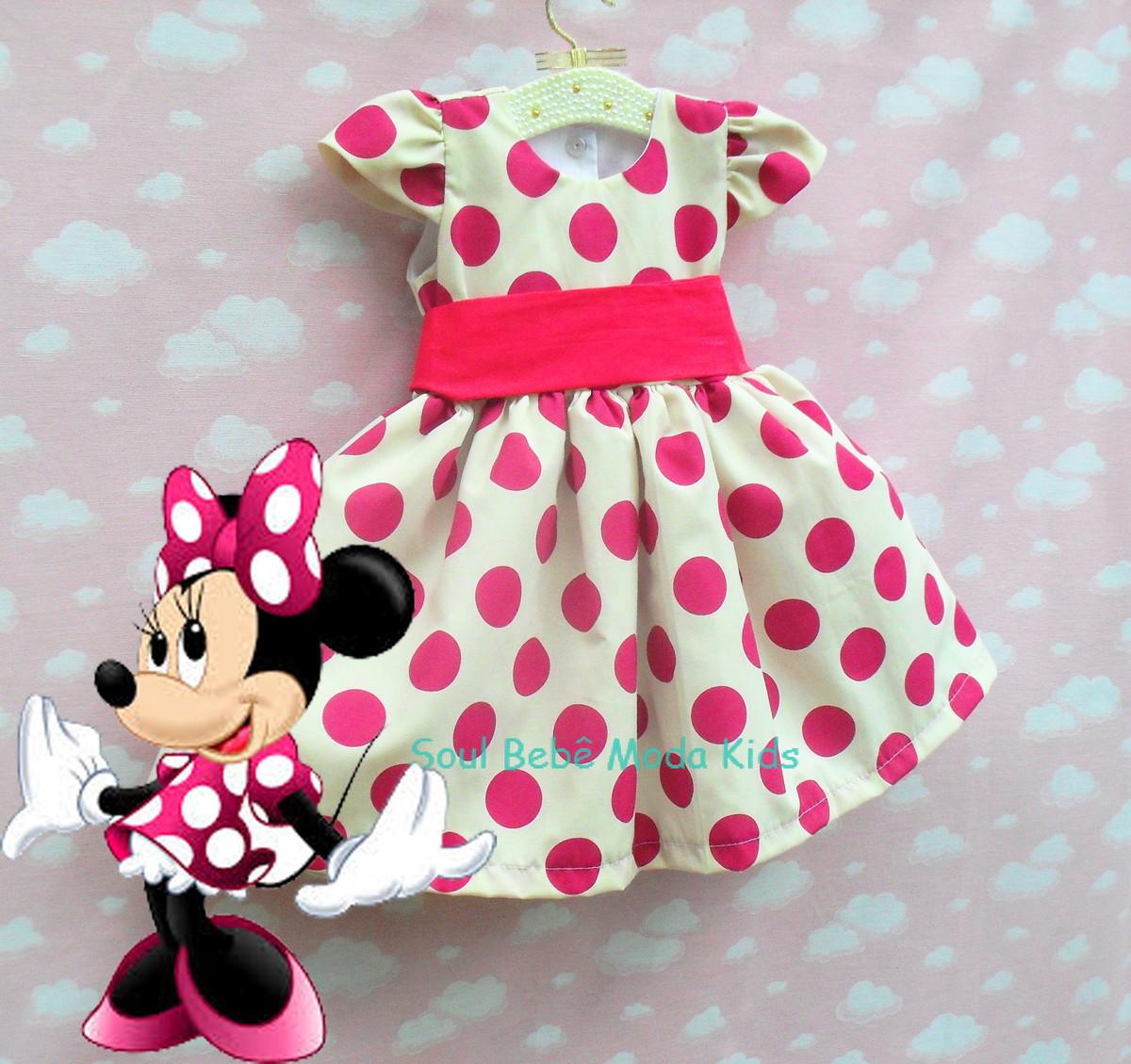 Vestido Minnie Rosa Infantil Festa Aniversário