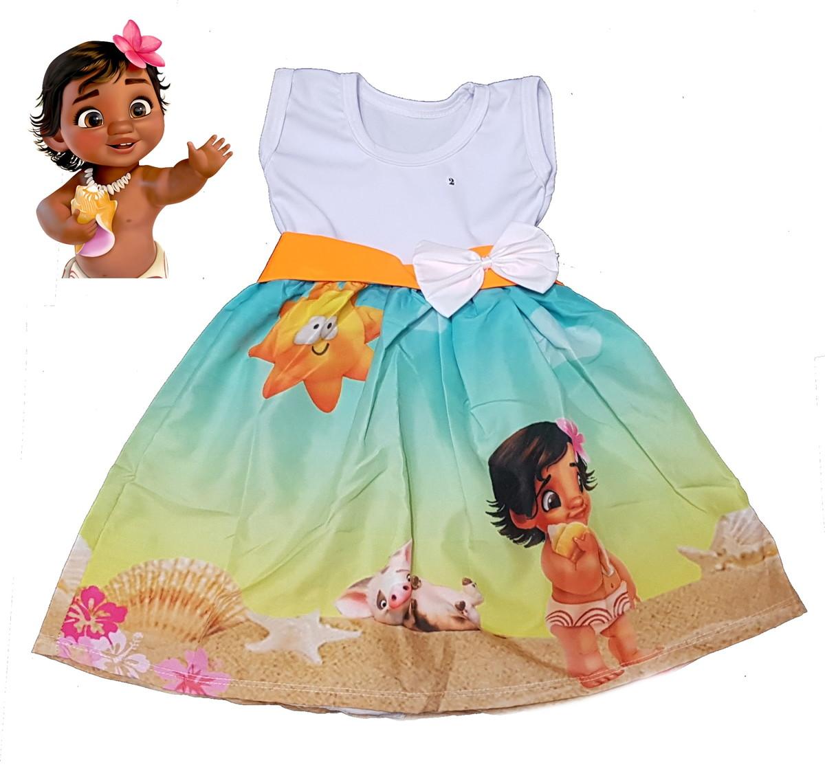Vestido Moana Infantil Temático