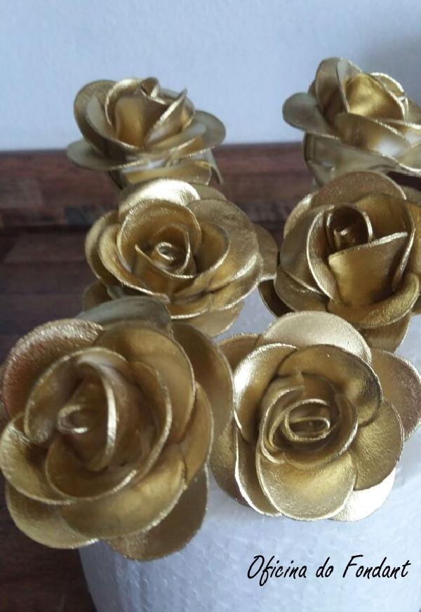 Adesivo Joia De Unha ~ Rosa artesanal lembrancinha de casamento Bodas de Ouro no Elo7 Oficina do Fondant (8EDDE8)