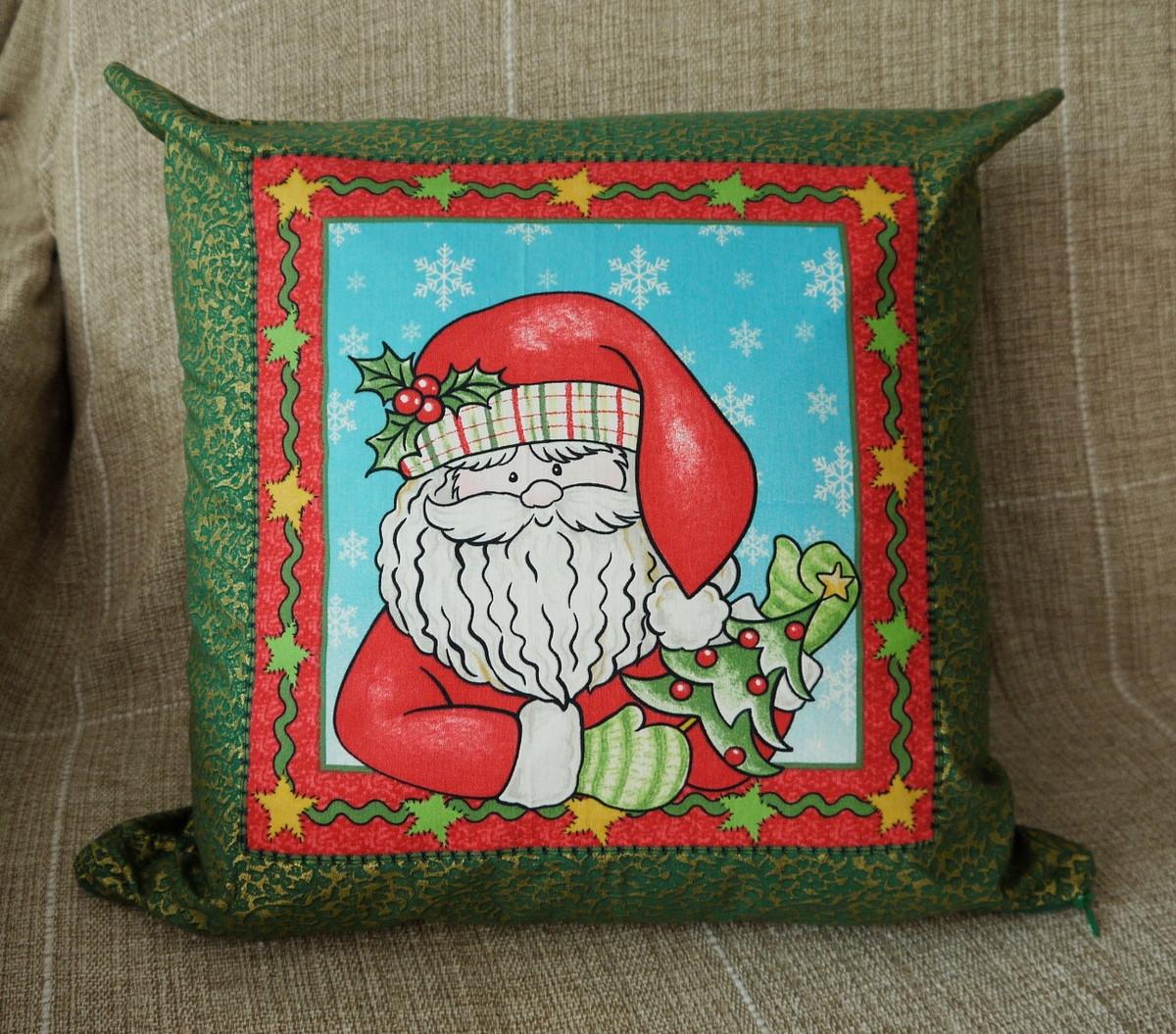 9ce1c019c5106b Capa de almofada natal Papai Noel verde