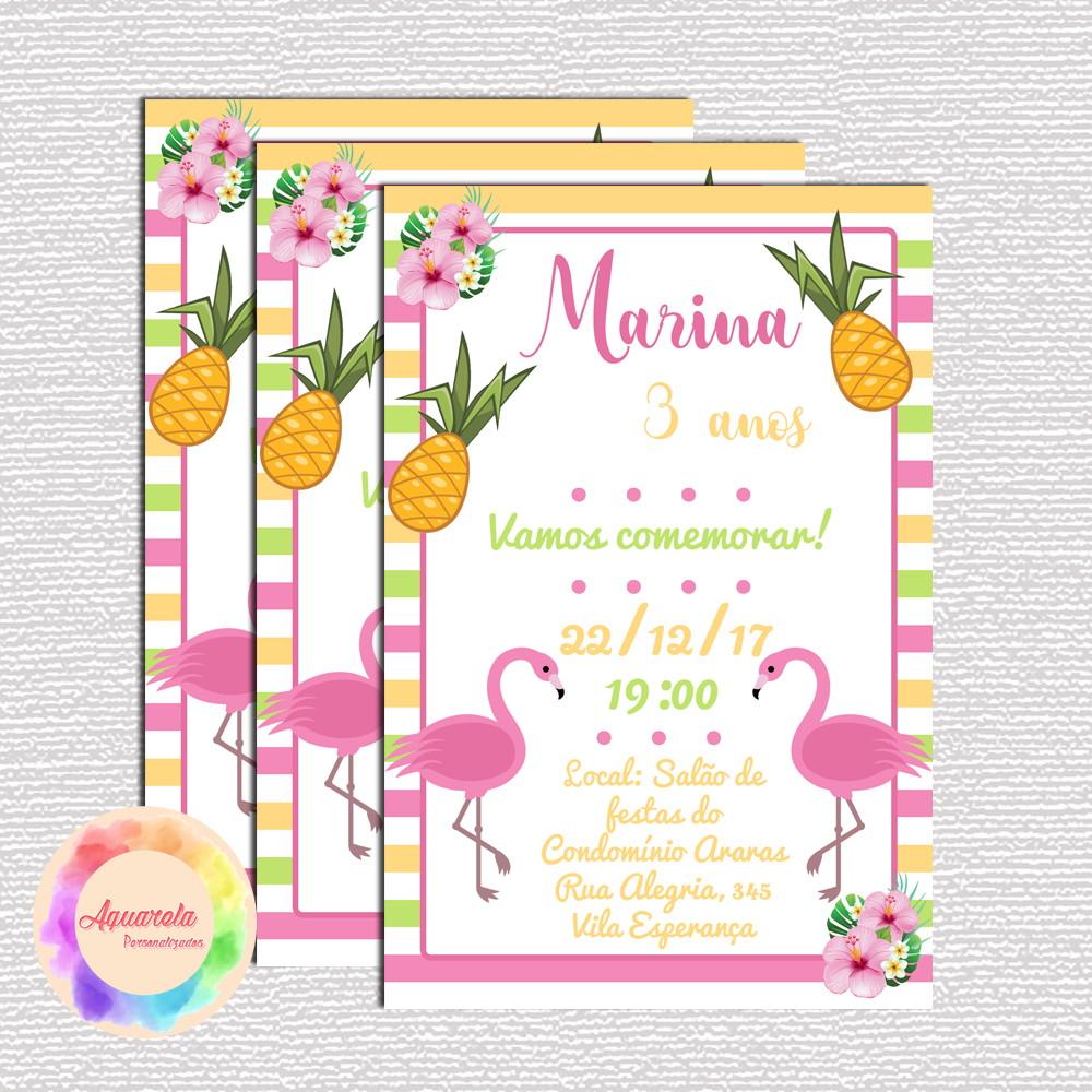 Convite Digital Flamingo Tropical No Elo7 Aquarela Personalizados