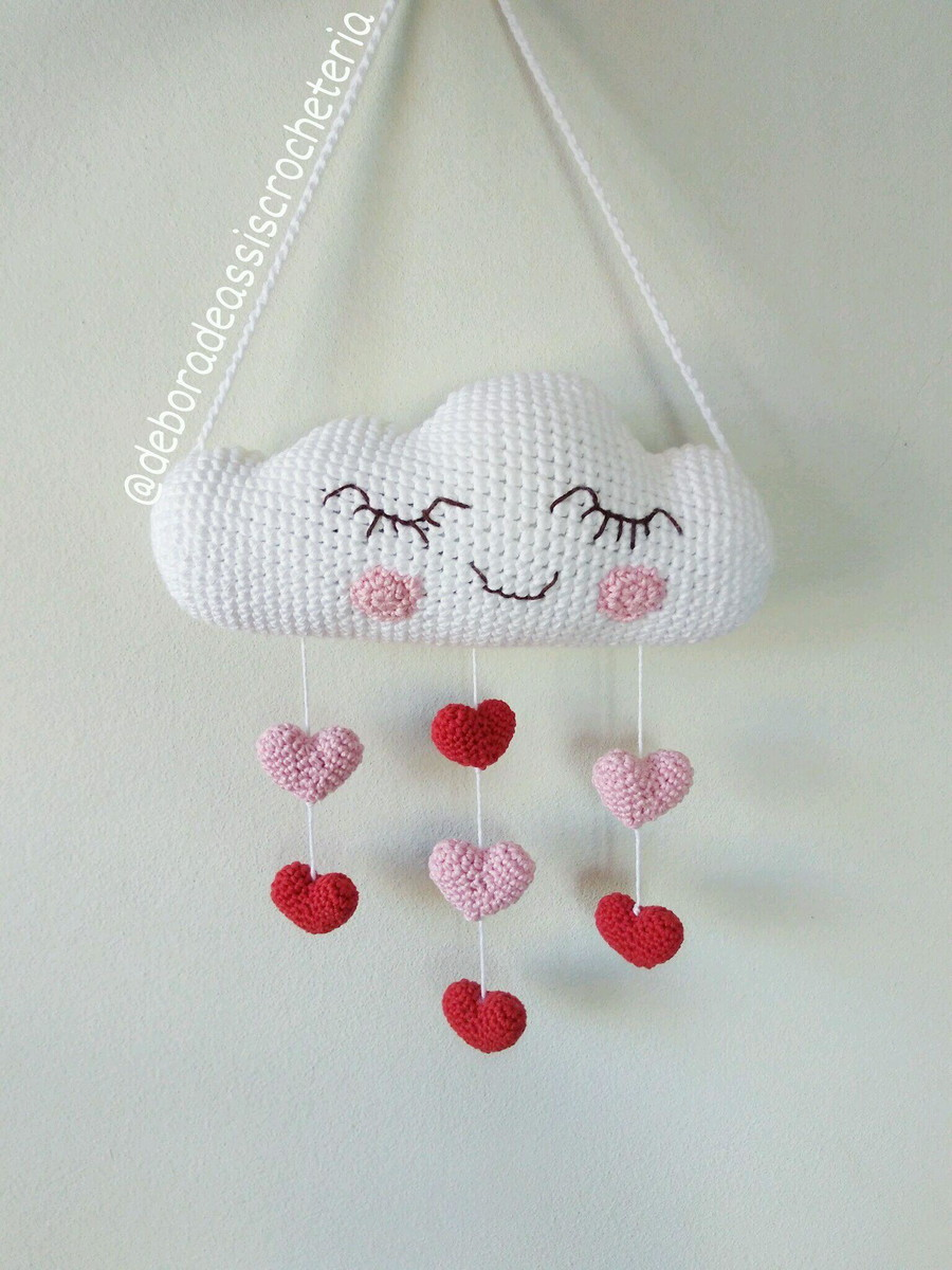 Crochet an adorable amigurumi baby mobile of a cloud with rainbow ... | 1200x900