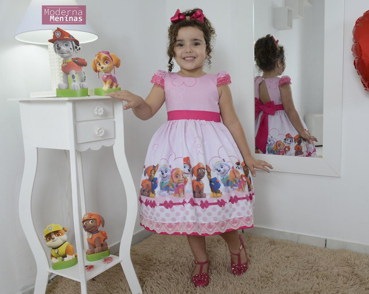 Vestido Infantil Festa Da Patrulha Canina Superluxo