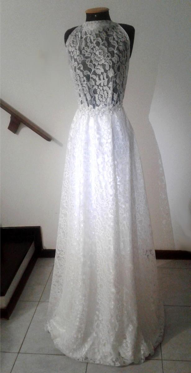 0829f741f8 Saia Godê Longa Noiva de Renda e Cetim Branco Off White no Elo7 ...