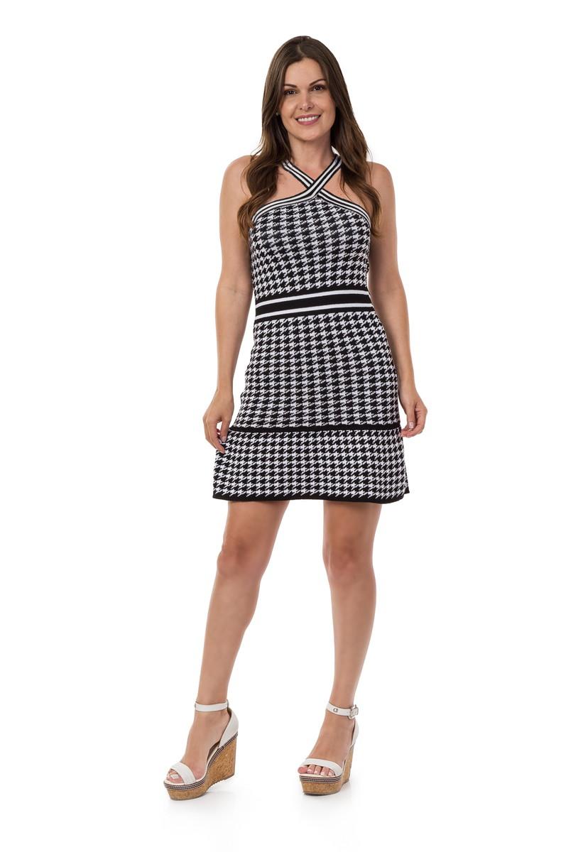 fdb7de3e9a83 Vestido Curto Feminino Tricot Listrado Preto/Branco 04931 no Elo7 ...