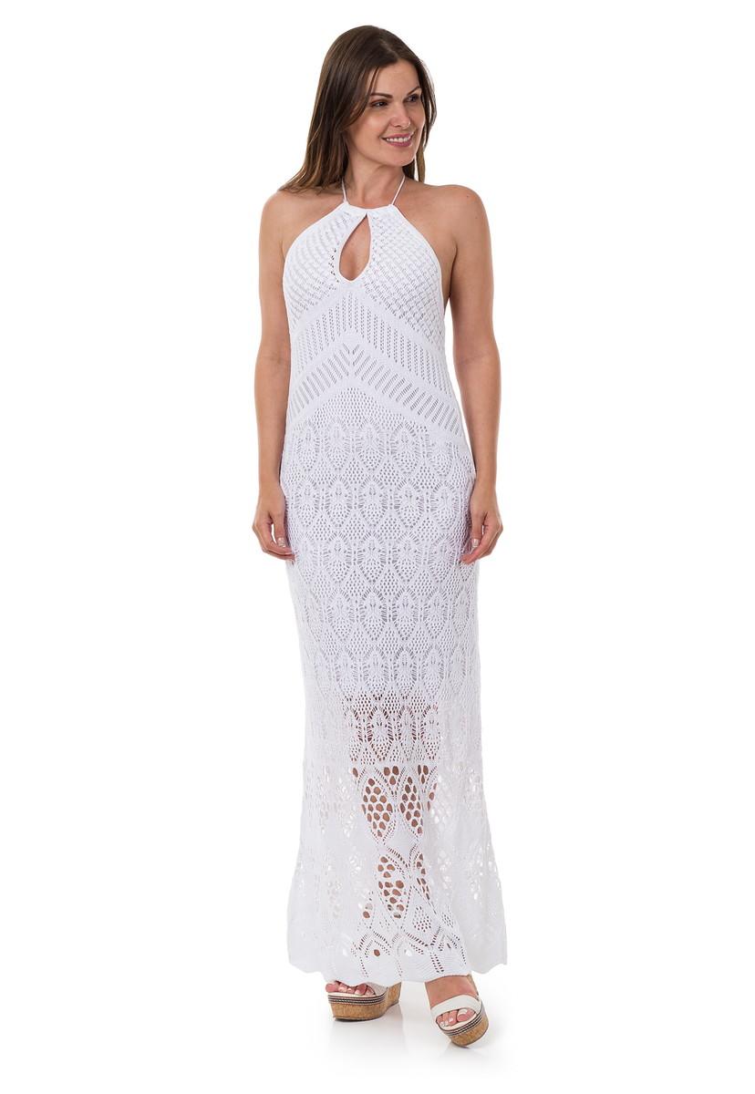 38f20410c Vestido Longo Feminino de Tricot Frente Única Branco 04939 no Elo7 ...