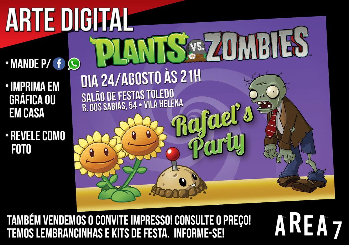 convite plantas x zumbis 1 digital no elo7 area7 7da029